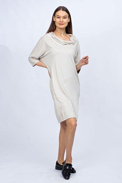 Ted Lapidus Kadın Ekru Şal Yaka Elbise