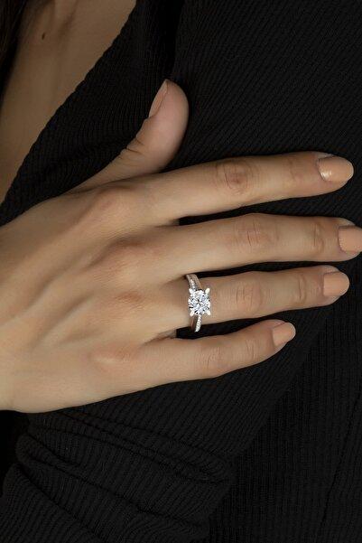 Else Silver Dört Tırnaklı Pırlanta Montürü Gümüş Bayan Yüzüğü