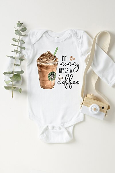 Happy Onesie Co Unisex Beyaz Mommy Needs Coffee Frappe Uzun Kollu Çıtçıtlı Body  2 Yaş