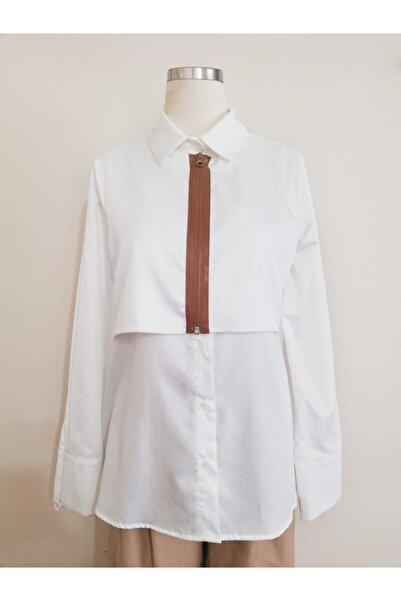 Vekem Kadın Beyaz Fermuar Detaylı Rahat Kesim Gömlek