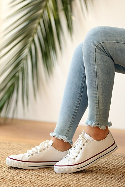 Pembe Potin Kadın Beyaz Cilt Ayakkabı