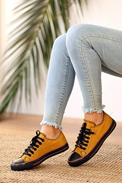 Kadın Hardal Bağcıklı Nubuk Ayakkabı
