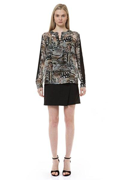BİRELİN Kadın Kahverengi Leopar Baskılı Şifon Detaylı Bluz