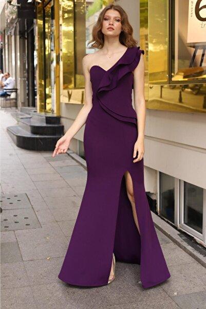 lovebox Esnek Krep Kumaş Tek Omuz Detaylı Mor Uzun Abiye Elbise Purple Maxi Prom Dress