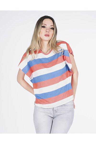 Vision Kadın Beyaz Şerit Detaylı T-shirt