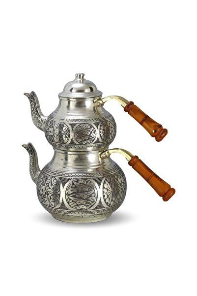 MORYA Eskitme Beyaz Bakır Çaydanlık