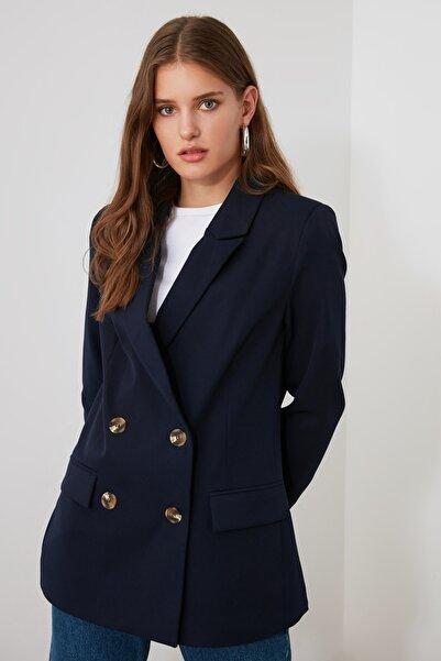 TRENDYOLMİLLA Lacivert Düğmeli Blazer Ceket TWOAW21CE0143