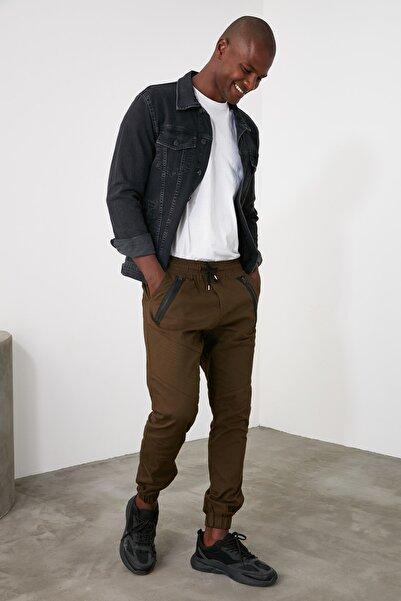 TRENDYOL MAN Haki Erkek Fermuar Detaylı Nervürlü Jogger Pantolon TMNAW21PL0214