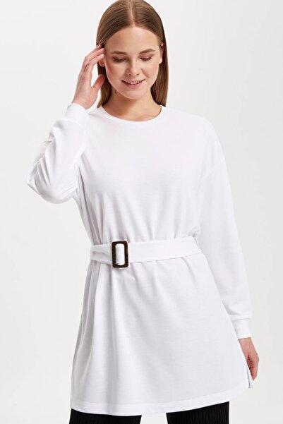 DeFacto Kadın Modest Beyaz Kemerli Uzun Kollu Tunik K9318AZ.19SM.WT34