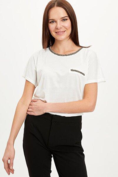Kadın Ekru Baskılı Kısa Kollu T-Shirt K7701AZ.20SP.ER105