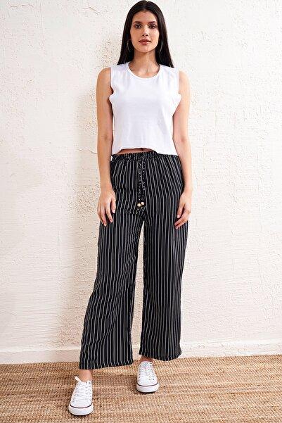 Eka Kadın Siyah Çizgili Lastikli Kemerli Pantolon
