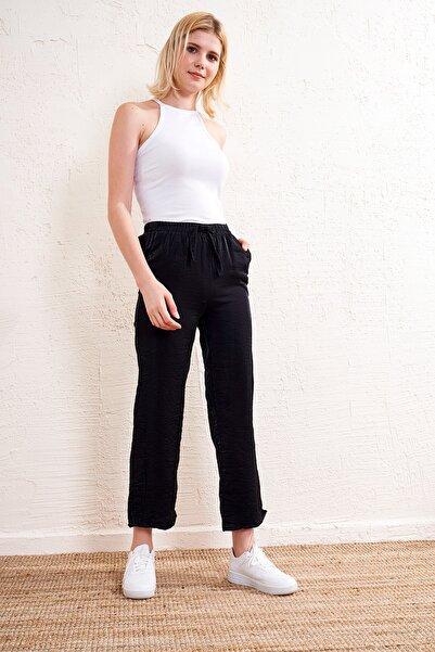 Eka Kadın Siyah Lastikli Kemerli Pantolon