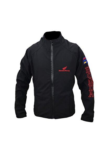 Anka Erkek Siyah Softshell  Rüzgar Ve Su Geçirmez Logolu  Ceket Mont