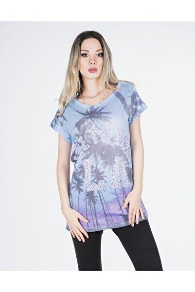 Vision Kadın Mavi Taş Detaylı T-shirt