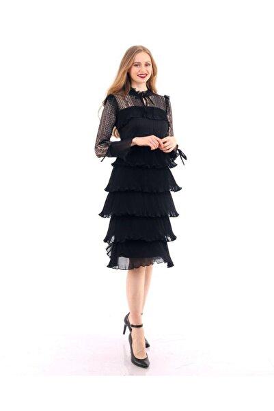 EPULİMO Kadın Siyah Dantel Detaylı Pilise Şifon Elbise