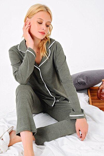 Trend Alaçatı Stili Kadın Yeşil Gömlek Yaka Pijama Takım ALC-X4875