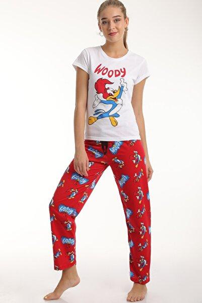 MD trend Kadın Kırmızı Woody Baskılı Pamuklu Pijama Takımı