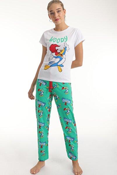 MD trend Kadın Yeşil Woody Baskılı Pamuklu Pijama Takımı