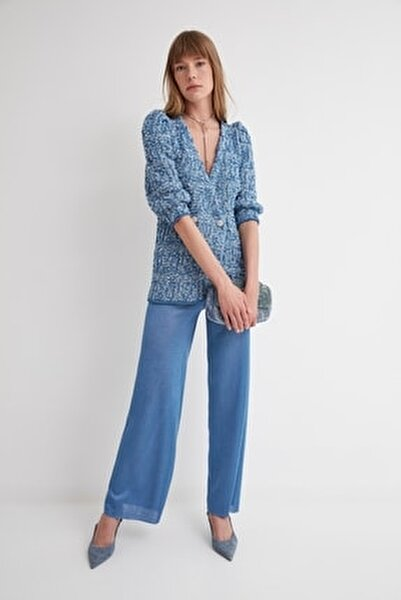 Kadın Mavi Lastikli Triko Pantolon