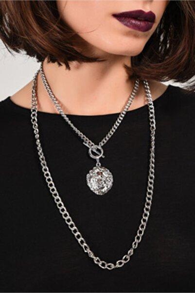 seher aksesuar Kadın Gümüş Aslanlı Metal Kolye Be2985