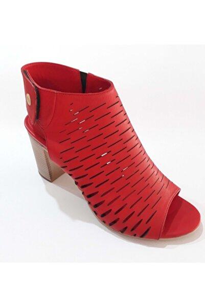 Mammamia Kadın Kırmızı Hakiki Deri Sandalet