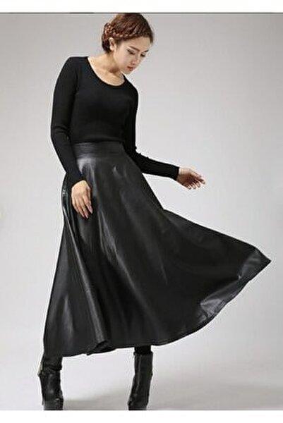 Kadın Siyah Uzun Deri Kiloş Etek
