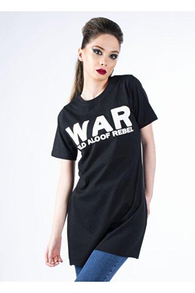 Vision Kadın Siyah Baskılı Yırtmaçlı Basic T-shirt