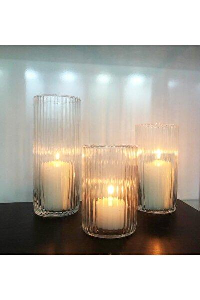 GLASSY 3'lü Cam Silindir Vazo Mumluk Seti (10 Çap 15-20-25cm Yükseklik)