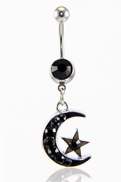 ROUGE Moulin Siyah Taşlı Ay Yıldız Göbek Piercing