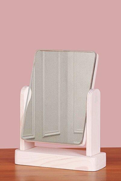 TROYA Masa Üstü Dekoratif Ahşap Makyaj Aynası - Beyaz