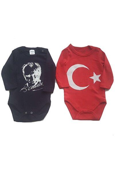 Fuar Baby Neşelibebek Fuar Baby FBBRS1858 Türkiye Bayrağı ve Atatürk 2 Li Uzun Kol Body Zıbın Seti 18 24 AY