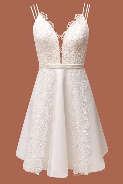 Barrus Kadın Beyaz Dantel Detaylı Elbise