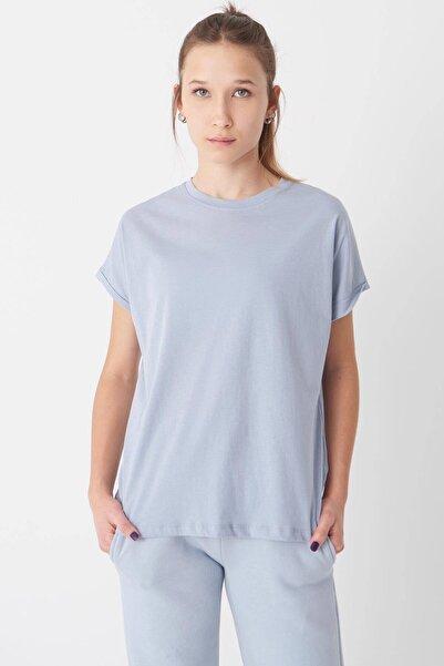 Addax Kadın Buz Mavi Katlama Kol Tişört P0358 ADX-0000022168