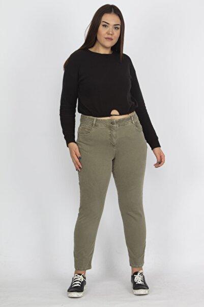 Şans Kadın Haki Kemeri Ve Contası Dikiş Detaylı Likralı Gabardin Pantolon 65N18336