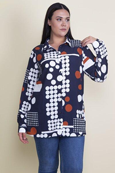 Şans Kadın Lacivert Ön Düğmeli Desenli Gömlek 65N18304