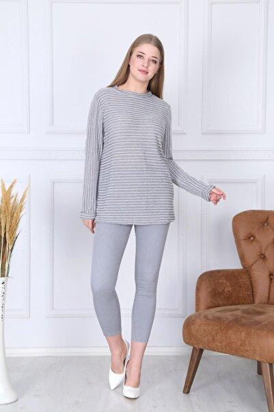 Big Free Kadın Gri Simli Çizgi Desen Kol Katlamalı Bluz TB21KB451236