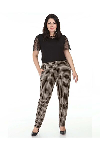 Big Free Kadın Kahve Kazayağı Desen Fermuarlı Cep Pantolon TB21KB018079