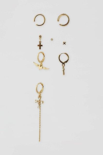 Pull & Bear Kadın Altın Rengi 8'Li Sembol Uçlu Küpe Paketi 09996399