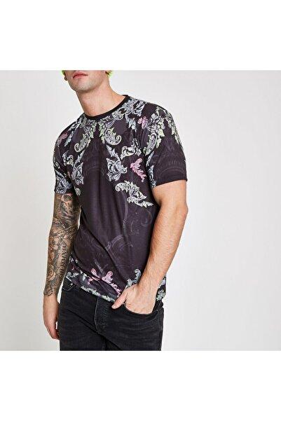 River Island Erjej Siyah Paisley Print Slim Fit T-shirt