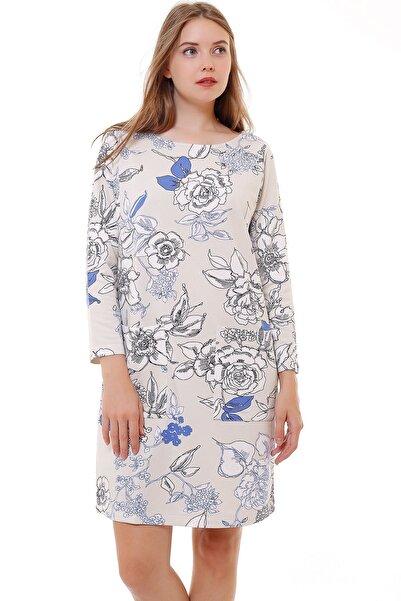Demaks Kadın Beyaz Önü Cepli Çiçekli Elbise