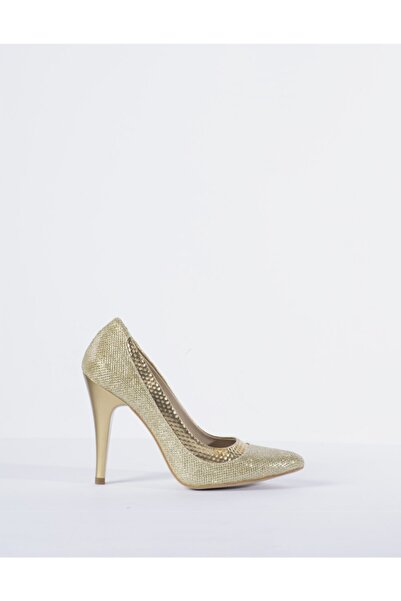 Vision Kadın Platin  Sarı Taş Desen Topuklu Ayakkabı