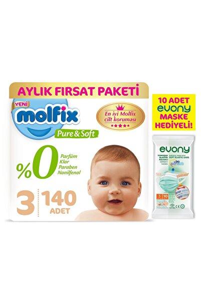 Molfix Pure&soft 3 Beden Midi Aylık Fırsat Paketi 140 Adet + Evony Maske 10'lu Hediyeli