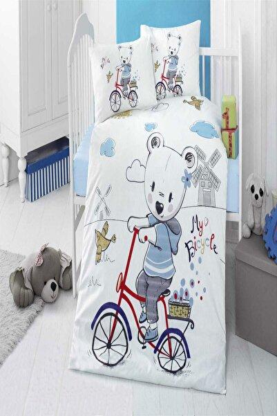 Eflatun Pamuklu My Bike Bebek Nevresim Takımı