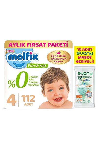 Molfix Pure&soft 4 Beden Maxi Aylık Fırsat Paketi 112 Adet + Evony Maske 10'lu Hediyeli