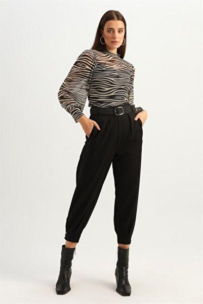Quzu Kadın Siyah Zebra Desenli Tül Bluz
