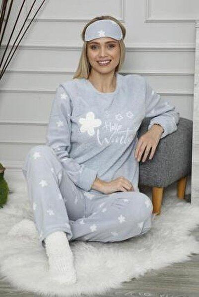 Kadın Mavi Hello Winter Desenli Peluş Pijama Takımı