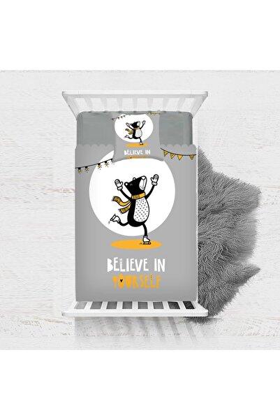 Else Halı Gri Siyah Sarı Sevimli Ayılı Desenli Dekoratif Çocuk Yatak Örtüsü 140x220 cm
