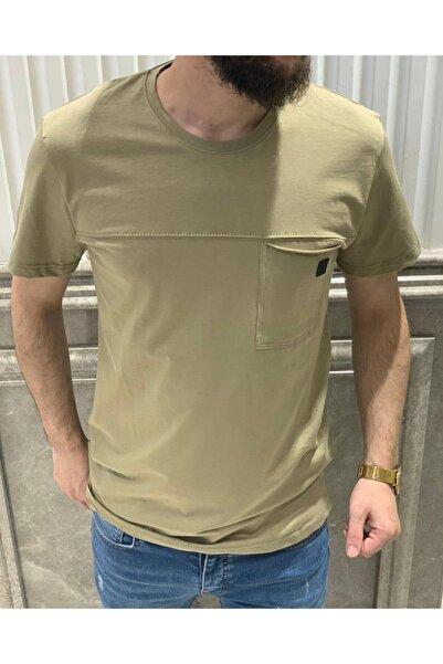 Retro Erkek Haki Basic T-shirt
