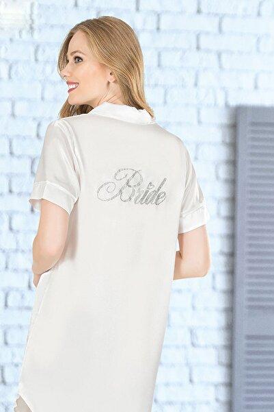 VİENETTA Kadın Beyaz Saten Gömlek Takım