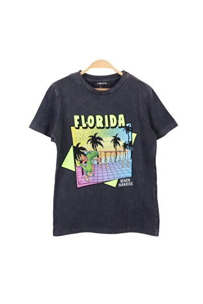 Miniworld Erkek Çocuk Füme Florida Bisiklet Yaka Kısa Kol Penye Tshirt